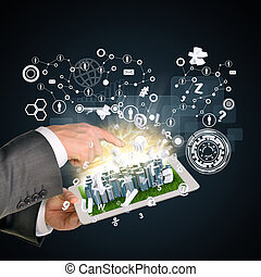 Man hands using tablet pc. Business city on touch screen. Network with people icon near computer