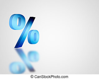 Percentage - Blue symbol of percentage over white background