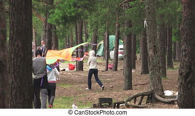 Family picnic in the forest. 4K. - Family picnic in the...