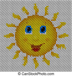 Happy sun image knit generated texture