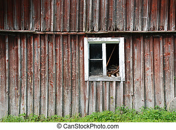Old barn - old weathere barn with a broken window
