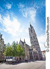 View of street with Het Belfort van Gent, Ghent - View of...