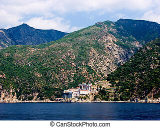 Monastery on Mount Athos in Aegean sea