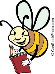 reading bee - bee reading a book.