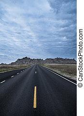 Road Through Badlands National Park - Badlands Loop Road no...