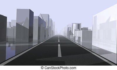 City Drive. Loop. CG. hd720 - Driving through an abstract...