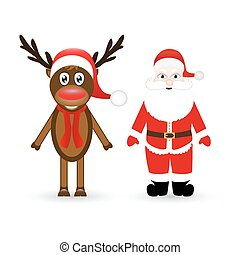 Christmas reindeer and Santa Claus