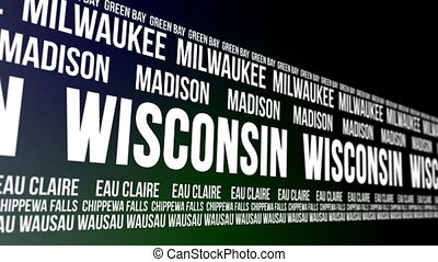 Wisconsin State and Major Cities - Animated scrolling banner...