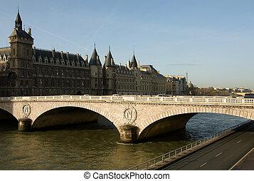 Bridge on the Seine - Bridge over the River Seine, Paris,...