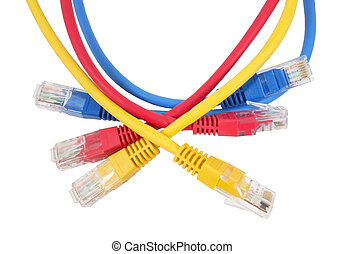 Network Ethernet Cable Over White Background