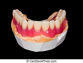 más bajo, dentadura,