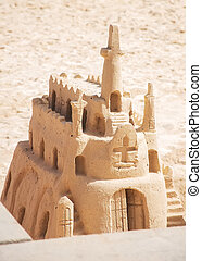 Church made from sand on the beach.