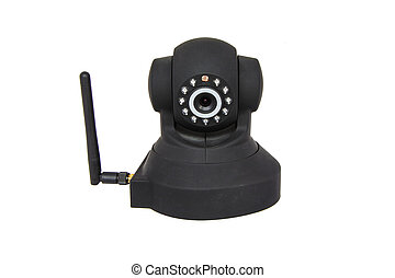 Security wireless camera isolated on white - Wireless IP...