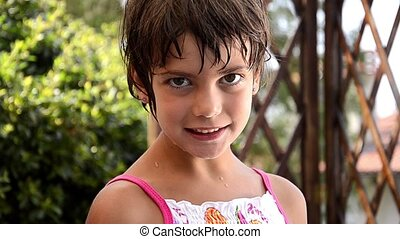 portrait of a nice young girl - nice kid in summer time