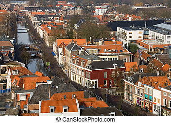 View from Above - A view of the houses and streets of Delft,...