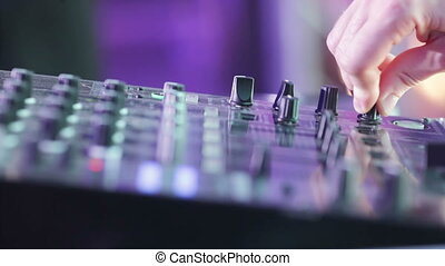 DJ booth hands - Male DJ Controls sound remote