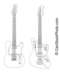 Guitars - Image of the guitars isolated on white.