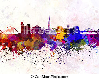 Newcastle skyline in watercolor background