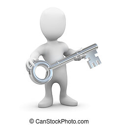 3d Little man with a silver key - 3d render of a little...