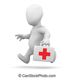3d Little man running with a first aid kit