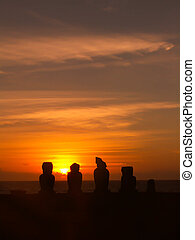 Easter Island Moai Silhoutte At Sunset