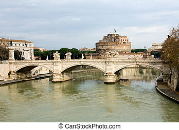 Tiber River, Rome, Italy - A view of the Tiber River, with...