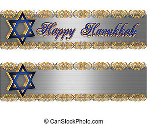 Hanukkah Border Elegant - Illustrated Background, border for...