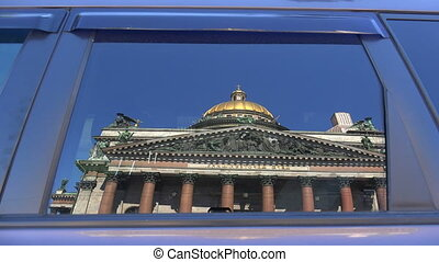 St. isaac's cathedral. The reflection in the glass of the...