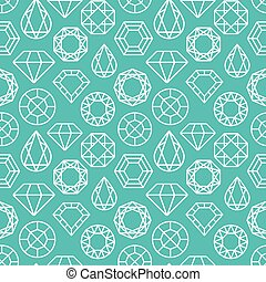 Vector seamless pattern with diamonds and precious stones in...