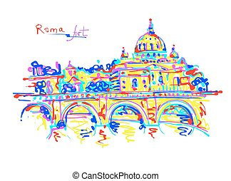 famous place of Rome Italy, original drawing in rainbow...