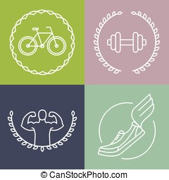 Vector sport logos in outline style - set of badges and...