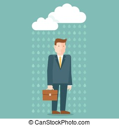 Vector bad day concept in flat style - businessman under the...