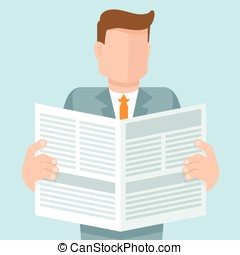 Vector concept in flat style - man reading a newspaper with...
