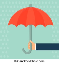 Vector insurance agent holding umbrella