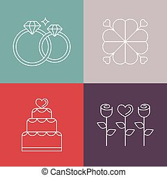 Vector wedding icons in outline style - logo design template...