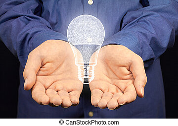 LED lamp - A lamp with LEDs floating above two hands