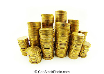 coins - towers of coins isolated on a whiteness