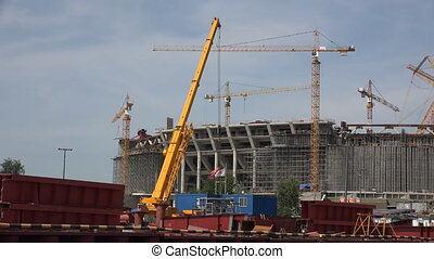 The construction of the stadium in St. Petersburg. Shot in...