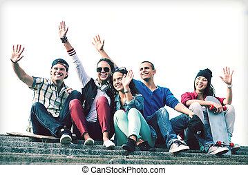 grupo, de, Adolescentes, ondulación, Manos,