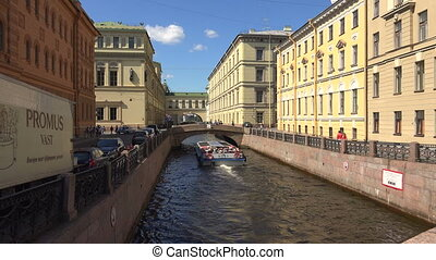 Winter canal in St. Petersburg. Shot in 4K (ultra-high...