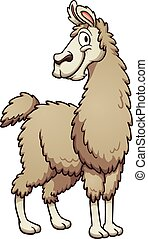 Cartoon llama - Smiling cartoon llama Vector clip art...