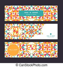 Vector colorful triangle texture horizontal banners set...