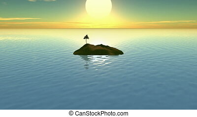 Island Sunset CG hd - Island sunset with calm sea animation...