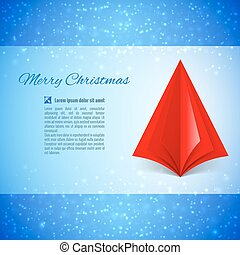 Christmas tree - Christmas greeting card with red paper...