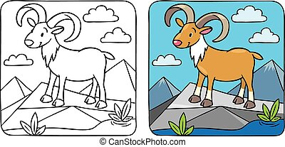 Funny wild urial or ram coloring book - Coloring picture of...
