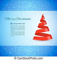 Christmas tree - Christmas greeting card with red ribbon...