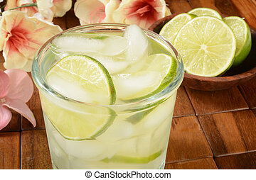 Gimlet - A gimlet or vodka lime on a tropical bar setting