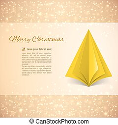 Christmas tree - Christmas greeting card with yellow paper...