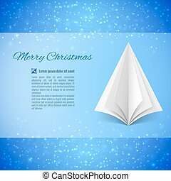 Christmas tree - Christmas greeting card with white paper...