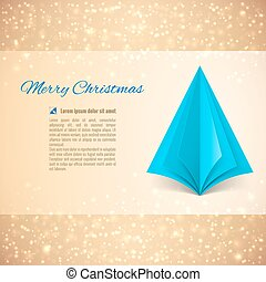Christmas tree - Christmas greeting card with blue paper...
